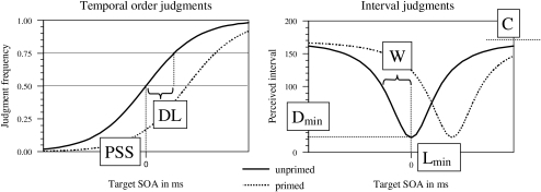 Distributions expected in the TOJ (left) and in the scaling and							reproduction task (right). Solid lines depict data expected in unprimed							trials, dotted lines depict data expected in primed trials. PLP is							evident from a shift of the distribution towards the right. Parameters							are indicated on the figures. For a more detailed description, see the							text and Appendix A.
