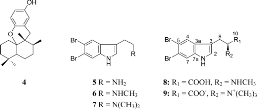 Structures of compounds 4–9 isolated from the marine sponge Hyrtios sp.