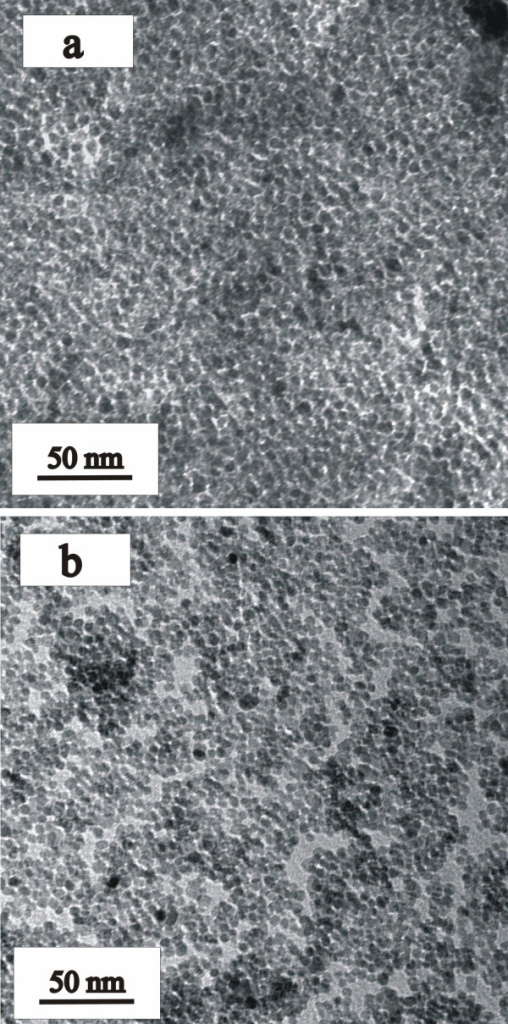 TEM images of (a) SA-coated and (b) Asp-coated TiO2 nanoparticles.