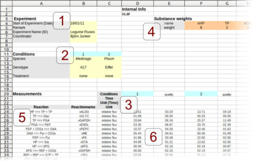 Data input template. Flux data input template specifying: (1) experimental metadata, (2) the conditions, (3) the time points/samples, (4) the substance weights, e. g. number of C-atoms, (5) the reaction-equations and (6) the flux values including quality information. The template shows data from the first use case described in the Results section.