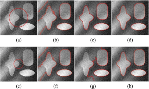 Comparisons of the segmentation results for a synthetic image with intensity inhomogeneity between Li's model, LSACM and our model.(a), (e) The original image with red initial contours. (b), (f) The results of Li's model. (c), (g) The results of LSACM. (d), (h) The results of our model.