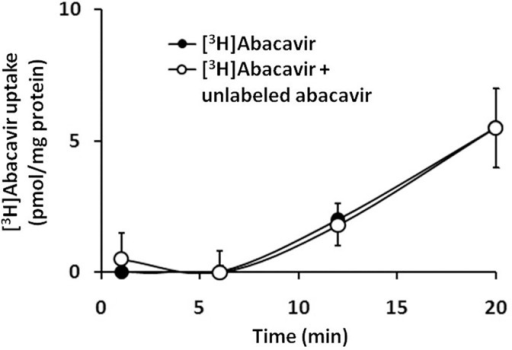 Uptake of [3H]abacavir by HUVECs.Uptake of [3H]abacavir (2 μCi/mL, 1 nM) by HUVECs was measured after incubation with [3H]abacavir with or without unlabeled abacavir (20 μM) for 1, 6, 12, and 20 min at room temperature. Values are means ± S.E.M. of three sets of experiments carried out in triplicate and statistical comparisons were made using ANOVA.