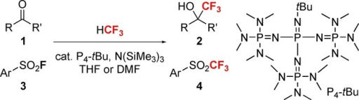 Catalytic trifluoromethylation of ketones 1 and sulfonyl fluorides 3 by HCF3 under the organocatalytic superbase system, P4-tBu/N(SiMe3)3.