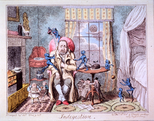 <p>A man wearing robe and slippers is sitting between fireplace and bed, his left elbow resting on small table; he is beset by tiny blue demons taunting and tormenting him.</p>