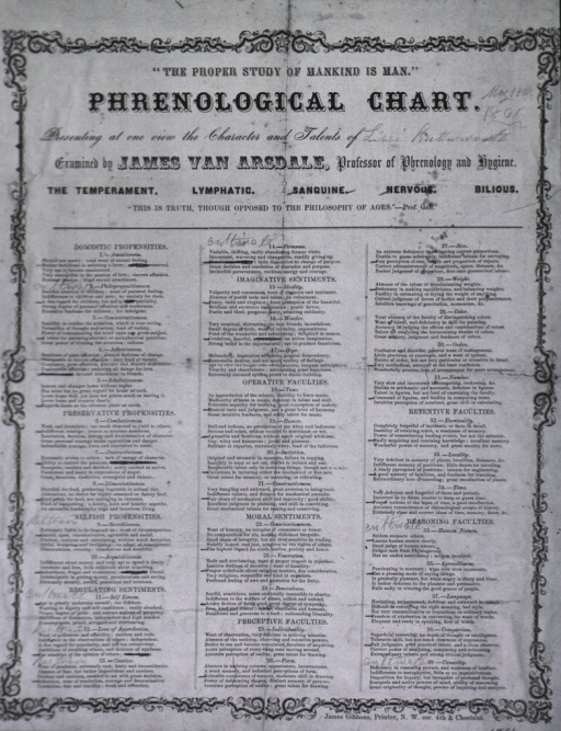 <p>Phrenological chart of Miss Lizzie Butterworth, drawn by James Van Arsdale, professor of phrenology and hygiene.</p>