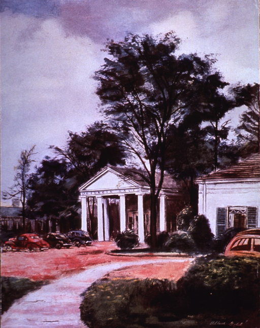 <p>Exterior view showing the front (columns and portico) of the primary building of the Georgia Warm Springs Foundation. It was occupied by the executive officers and was attached to patient housing at the rear of the building.</p>