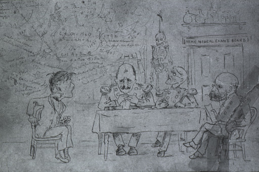 <p>Caricature entitled &quot;The Examining Board&quot; which immortalizes him as the candidate; the inquisitors, left to right are Col. Joseph H. Bill, Col. David L. Huntungton and Col. Charles H. Alden.</p>