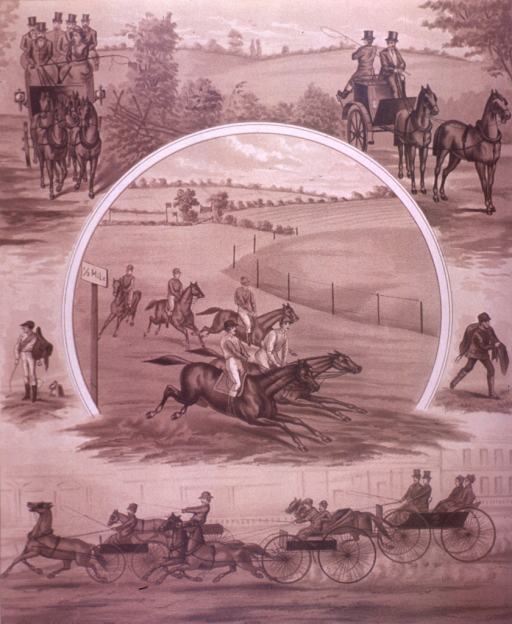 <p>Men on horseback are racing; on the upper corners of the picture are a horse drawn carriage with passengers and a horse drawn carriage with two men seated back to back; on the lower end of the picture is a collection of horse drawn carriages with drivers and one carriage with passengers.  On the verso is an advertisement for Moschcowitz &amp; Russell.</p>