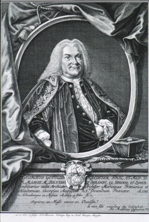 <p>Seated, right pose, hand in vest; coat-of-arms; in oval with curtain background.</p>