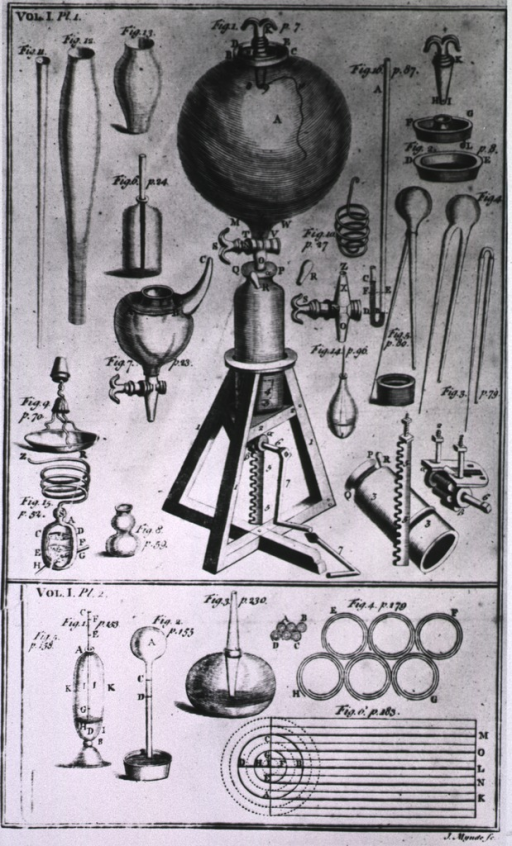 <p>Air pump used by R. Boyle in experiments demonstrating necessity of air to life and combustion.</p>