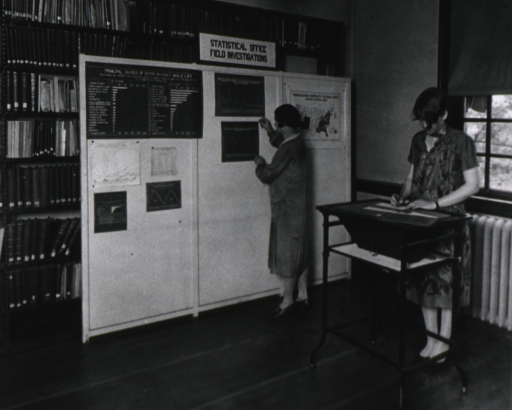 <p>Interior view of a room at the USPHS Statistical Office; A woman is pinning a chart to bulletin board that is set up in front of bookshelves; one chart reads: Principal causes of death in adult male life; another woman stands at a table on the right.</p>