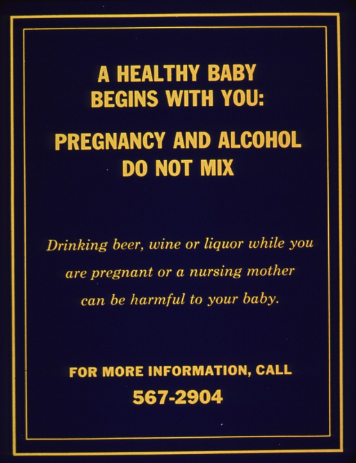 <p>Bright blue poster with yellow lettering.  Poster is all text.  Title near top; note below.  A phone number for additional information appears at the bottom of the poster.</p>