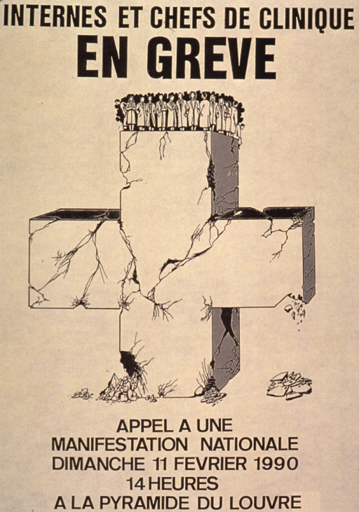 <p>Predominantly yellow poster with black lettering.  Title at top of poster.  Visual image is an illustration of a cluster of medical personnel standing atop a cross.  The cross is cracked and crumbling beneath their feet.  Caption at bottom of poster calls for a national demonstration.</p>