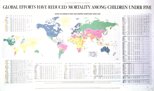 <p>Predominantly white poster with black lettering.  Note and title at top of poster.  Poster features two multicolor world maps depicting child mortality rates in 1960 and roughly the early 1990s (dates on some data sources differ).  Caption at top of the more recent map.  Charts listing statistics about child health factors that influence mortality surround the maps.  The charts are organized by region.  Publisher and sponsor information at bottom of poster.</p>