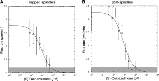 Flux rates show similar dose–response to inhibition of Eg5 when spindle collapse is suppressed by either mechanical or biochemical means. (A) Dose–response of flux to (S)-quinazolinone in physically trapped spindles (n =189 spindles from three dosage series done on three different days; each point represents the average flux rate from >20 spindles). (B) Dose–response of flux to (S)-quinazolinone when spindle collapse is prevented in solution by addition of p50/dynamitin (n = 114 spindles from two dosage series done on two different days; each point represents the average flux rate from >10 spindles). Error bars show SD. The gray area indicates the lower bound of velocity resolvable by the cross-correlation method (see Materials and methods). The line is a best-fit hyperbolic inhibition curve, R2 = 0.98 for A and R2 = 0.94 for B.