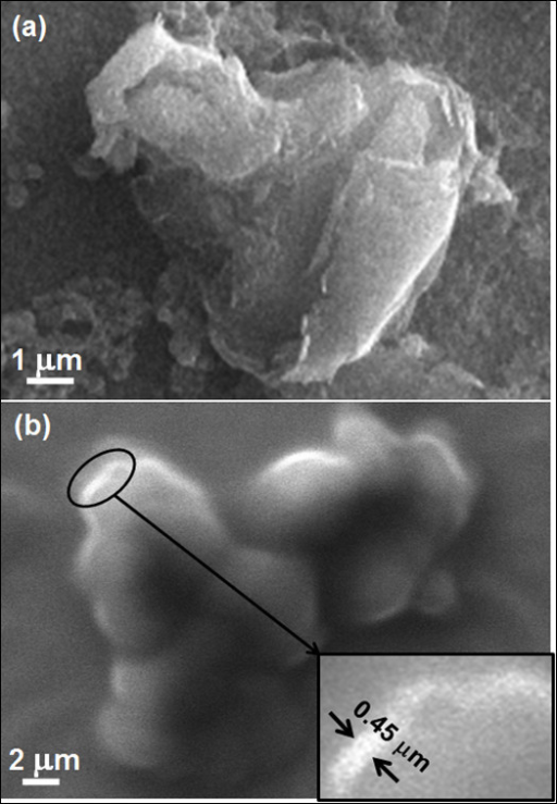 SEM images of graphene. Showing (a) an aggregate of nanosheets and (b) stacks of the sheets. Inset shows the edges of individual sheets.