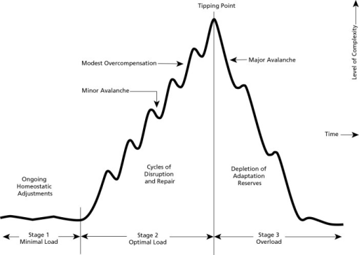 Levels of stress and hormesis, with an optimal stress level that maximally fosters beneficial adaptations. Excessive stress produces overload and development of disease. Homeopathic remedies at low pulsed doses would act therapeutically on the left side of the curve to shape adaptive changes, recovery of complexity, and healing. The dosage and size-related properties of the nanoparticles as a mild cellular and systemic stressor, the adaptability of the cells and organism as complex adaptive systems, and the interaction between the remedy nanoparticles and the system determine the type and direction of effects. The analogy is the nonlinear changes that occur in a sand pile as each grain of sand is added one by one. A single grain of sand arriving at just the critical time can tip the system into an avalanche, thereby triggering vigorous compensatory adaptive responses. Reprinted with permission from Stark et al, 2012.207