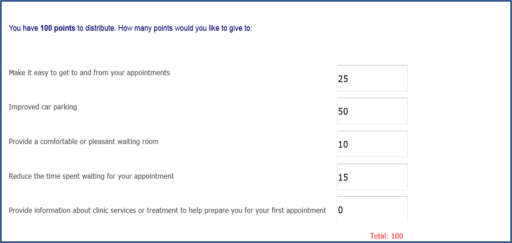 Screenshot of Consumer Preferences Survey, relative prioritization exercise.