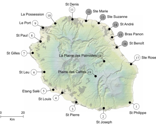 Sample sites of Culex quinquefasciatus field populations in La Réunion Island.Localities in grey correspond to those sites where mosquitoes were sampled for semi-field tests.