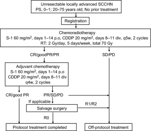 Schema of a phase II study to evaluate the efficacy and safety of chemoradiotherapy concurrent with S-1 plus cisplatin (CDDP) in patients with unresectable locally advanced squamous cell carcinoma of the head and neck (SCCHN). CR, complete response; PD, progressive disease; PR, partial response; PS, performance status; RT, radiotherapy; SD stable disease, stable disease.
