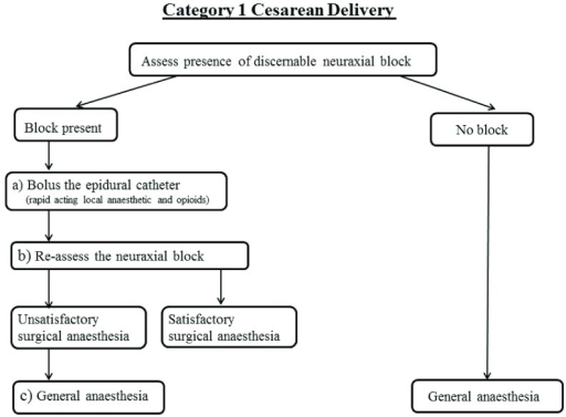 Schematic of Category 1 cesarean delivery algorithm.