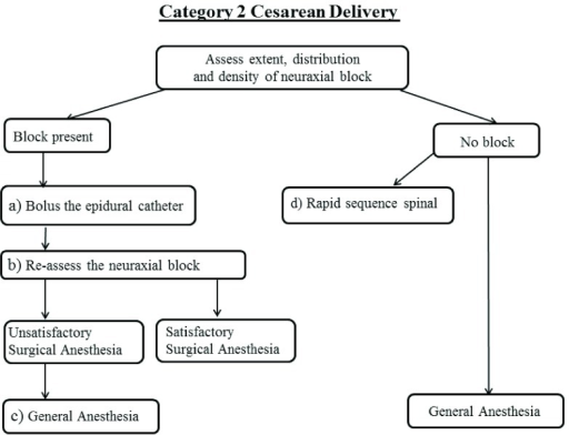Schematic of Category 2 cesarean delivery algorithm.