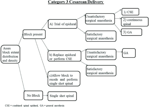 Schematic of Category 3 and 4 cesarean delivery algorithm.