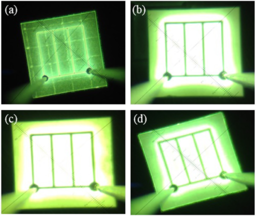 Near-field images of UV-VLEDs. (a) C-VLED, (b) UV-VLED with n-CBL and larger pyramid textured surface (UV-VLED-1), (c) UV-VLED with n-CBL and smaller pyramid textured surface (UV-VLED-2), and (d) UV-VLED only with n-CBL (UV-VLED-3).