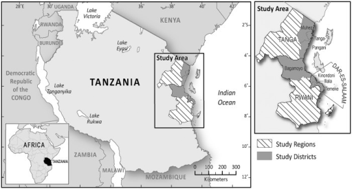 Map of Tanzania showing the study areas.