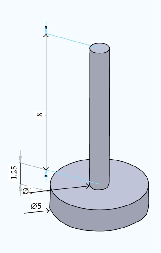 Dimensions for the suction caisson (meters).