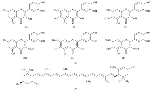 The constituents of Tagetes patula. (a) Flavonols: (A) quercetin; (B) quercetagetin; (C) patuletin; (D) quercetin-3-glucoside; (E) quercetagetin-7-glucoside; (F) quercetagetin-3,7-diglucoside. (b) Lutein.