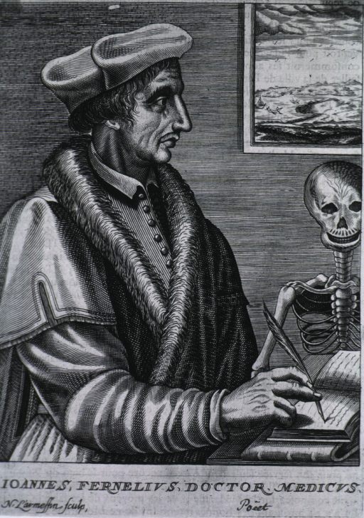 <p>Half-length, standing, right profile, writing in open book, skeleton to right in background.</p>