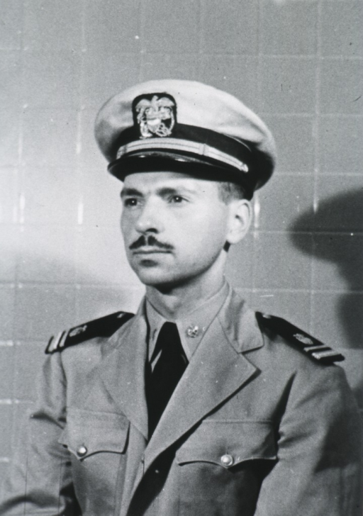 <p>Head and shoulders, left pose, wearing white cap with USPHS insignia.</p>