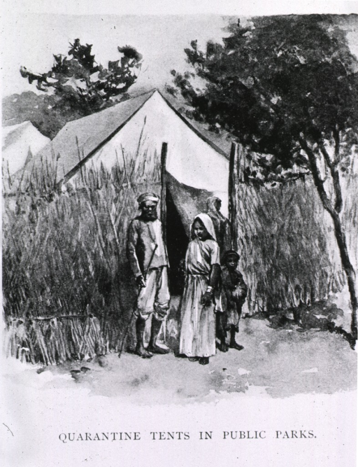<p>Quarantine tents for plague victims in public parks of Bombay.</p>