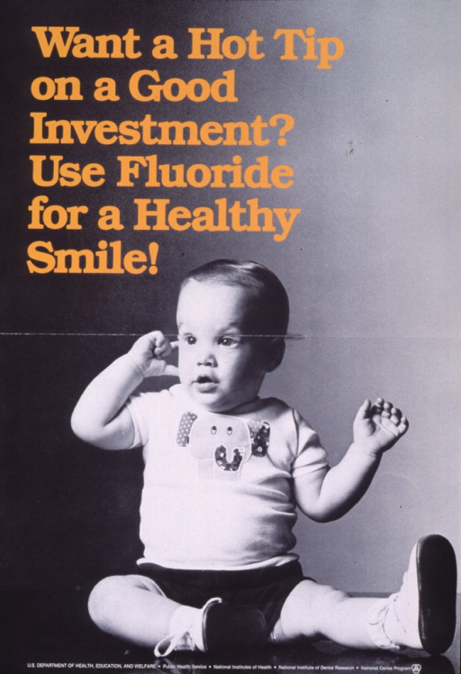 <p>Black and white poster with gold lettering.  Title in upper left corner.  Visual image is a reproduction of a b&amp;w photo of a baby, sitting upright with one hand raised to its head.  Publisher information at bottom of poster.</p>