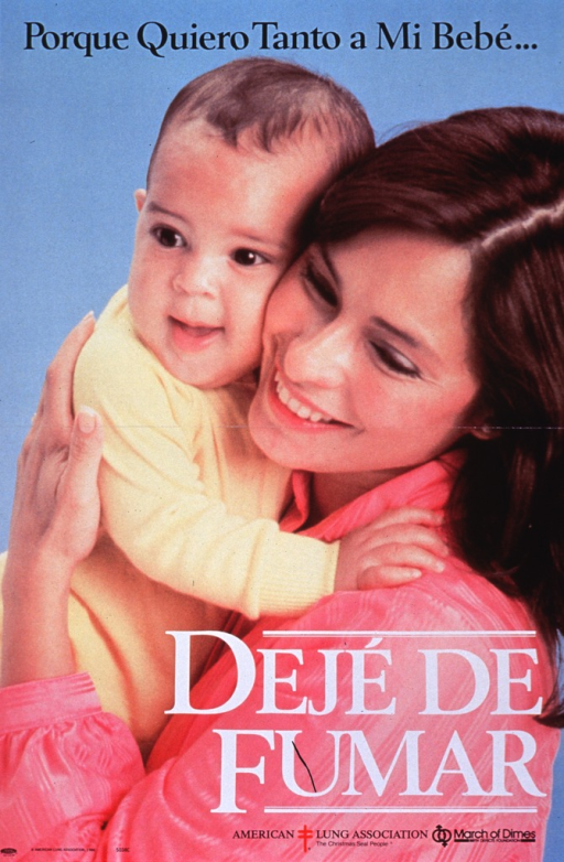 <p>Multicolor poster with black and white lettering.  Initial title phrase at top of poster.  Visual image is a color photo reproduction featuring a mother holding her baby.  Remaining title text superimposed on lower portion of photo.  Publisher information at bottom of poster.</p>