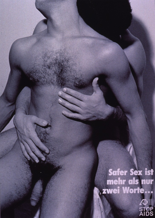 <p>Black and white poster showing a photo reproduction of a naked male-male couple, one man embracing the other from the back. The Stop AIDS logo and publishing information are at the bottom of the poster.</p>