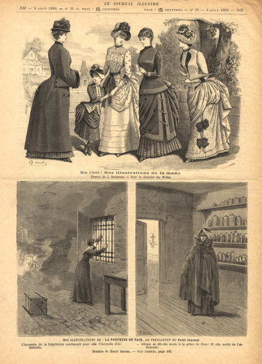<p>Two wood engravings illustrating a story in Le Feuilleton du Petit Journal, each illustration having its own caption.  The illustration on the left shows a woman in a room grabbing the bars of a window as a fire rages behind her.  The illustration on the left shows the same woman, now in a shawl and cowl walking through an infirmary.</p>