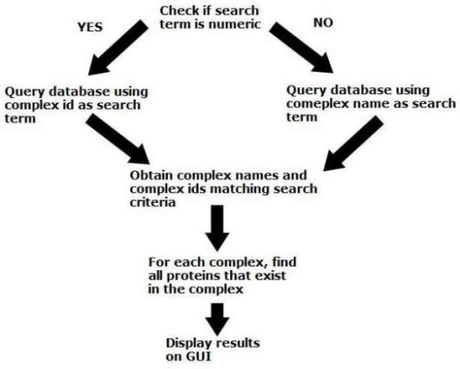 Description of the complex matching algorithm used to search for complexes and proteins matching a client's search term.