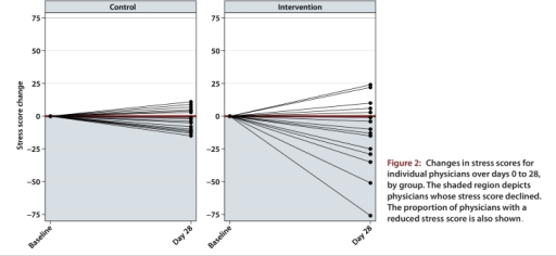 Changes in stress scores for individual physicians over days 0 to 28, by group