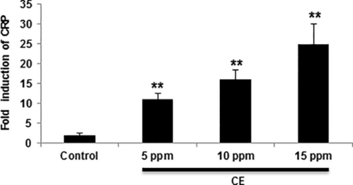 CE exposure induces dose-dependent increase of CRP.Following CE treatment for 4 hours, CRP expression in cells isolated from zebrafish was determined by qRT-PCR. CRP mRNA level is expressed as a ratio to control mRNA levels. Data are shown as mean ± SD of triplicate cultures and are from one experiment representative of three performed. ** p < 0.01 vs control by a one-way ANOVA with HSD test.