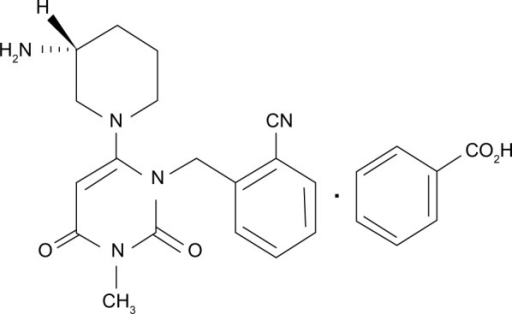 Chemical structure of alogliptin benzoate: 2-({6-[(3R)-3-aminopiperidin-1-yl]-3-methyl-2,4-dioxo-3,4-dihydropyrimidin-1(2H)-yl}methyl) benzonitrile monobenzoate.
