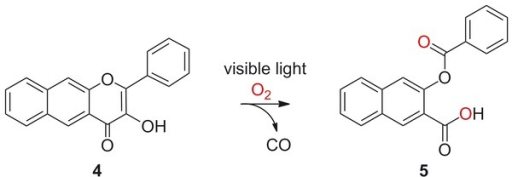 Photoinduced CO-release reactivity of 4.
