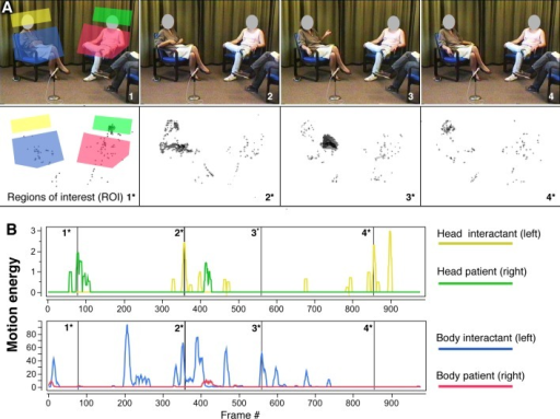 Video-based quantification of nonverbal behavior with motion energy analysis (MEA)—Regions of interest (A) and motion energy time series (B).