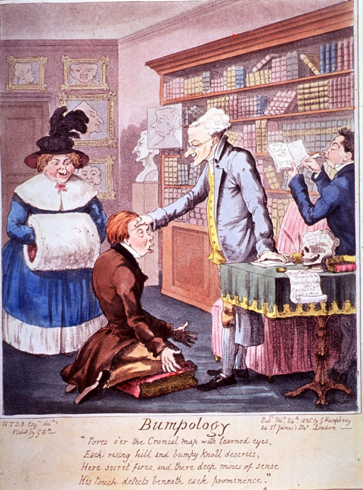 <p>A young man kneels before a phrenologist who feels his forehead; behind the boy stands his mother. An assistant, reading from a book, stands behind the phrenologist. Bookshelves are against the wall and in the background is a bust on a pedestal.</p>