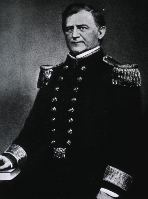 <p>Half-length, full face, hand resting on book, wearing dress uniform (Commodore).</p>