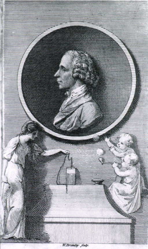 <p>Left profile, small medallion with lower part of print showing figures and details.</p>