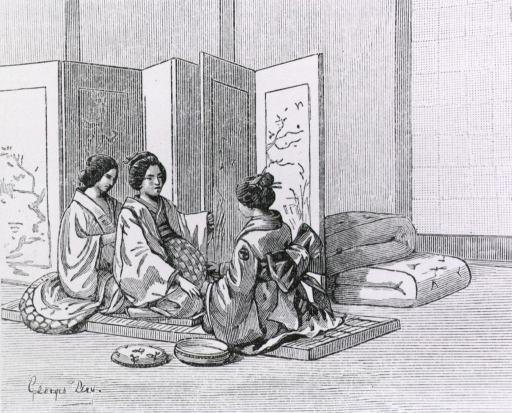 <p>Two women attend to a woman in labor.</p>