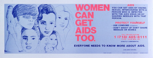<p>Predominantly blue poster with red and blue lettering.  Visual image is an illustration of seven women and a baby representing different ages and ethnic groups.  Title in center of poster.  Caption on right side of poster.  Publisher information in lower right corner.</p>