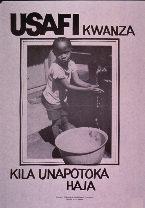 <p>Predominantly discolored white poster with black lettering.  Initial title words at top of poster.  Visual image is a b&amp;w photo reproduction featuring a child washing his hands under a faucet.  Remaining title words below photo.  Title appears to address cleanliness after each use of the toilet.  Publisher information at bottom of poster.</p>
